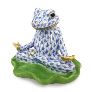 Herend Porcelain Fishnet Figurine of a Yoga Frog